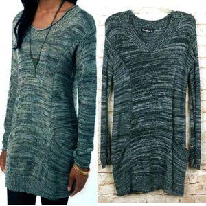 UO ByCorpus Knit Tunic Pocket Marled Sweater Dress